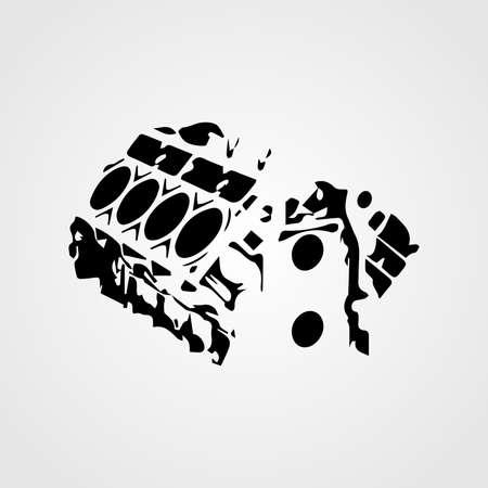 Vector car engine silhouette icon Ilustrace