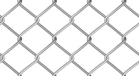 Seamless mesh netting. Realistic geometric texture. Graphic design element for website background, catalog. Steel wire wall on white. Vector illustration.