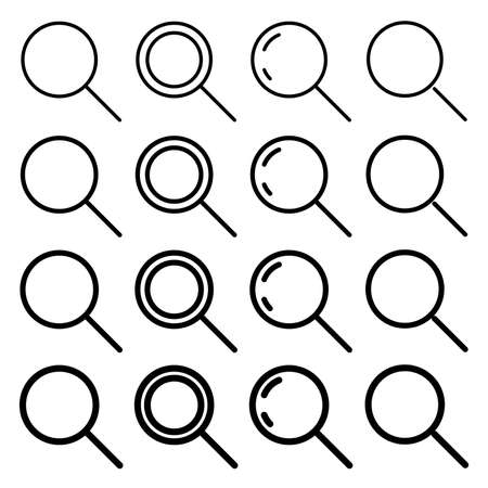 Search set icon, Different variations in stroke thickness. Vector eps10.