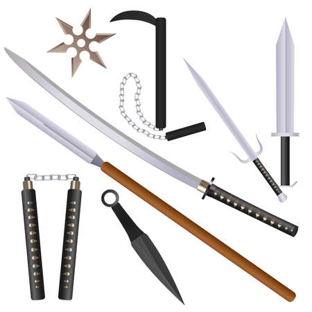 Cartoon flat style ninja weapons with shadows set: sword, sai, nunchaku and shurikens. vector illustration.
