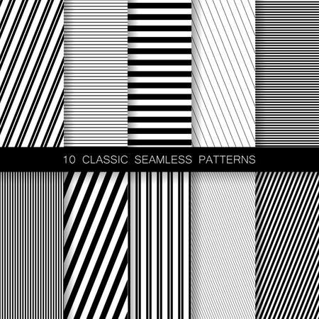 Set of seamless geometric minimalistic patterns.
