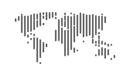 Abstract line World map icon. World vector stripes map. Ilustrace