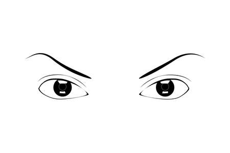 Womens eyes. Vector icon of beautiful female eyes with eyebrows.