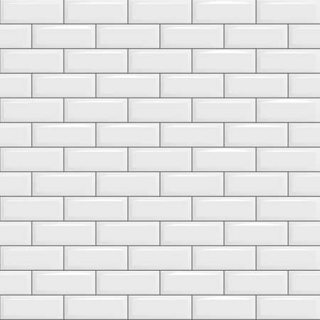 White tiles, seamless texture, ceramic brick. Vector illustration.