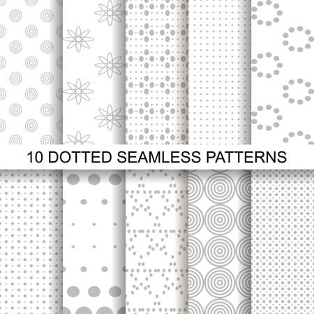 Set of soft seamless patterns with dots.