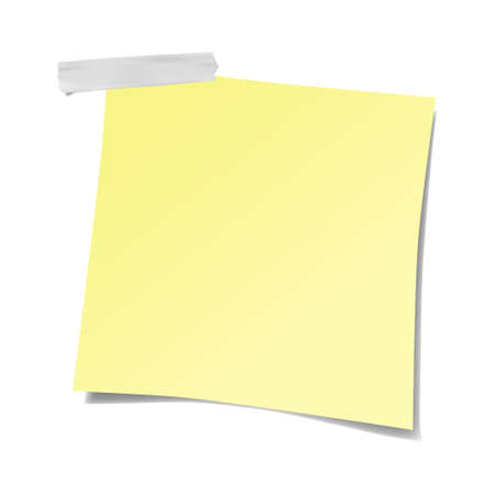 Realistic yellow sticky note isolated with real shadow on white background. Ilustrace
