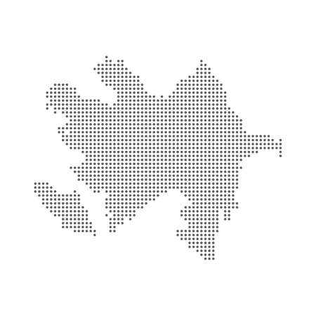 Dotted polka dot pixel particle map of Azerbaijan Ilustrace