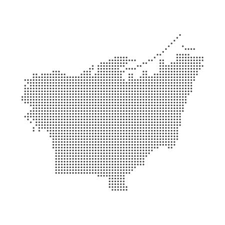 Lebanon Beirut dotted polka dot particle map in halftone. Dotted illustration isolated on a white background.