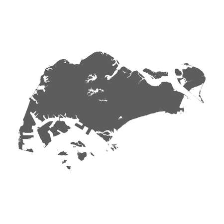 High detailed vector map of Singapore on white background Ilustrace