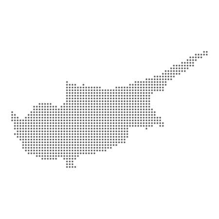 Vector map of Cyprus from polka dots points pixel particle