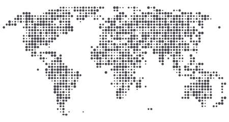 World of dots. Abstract vector halftone map