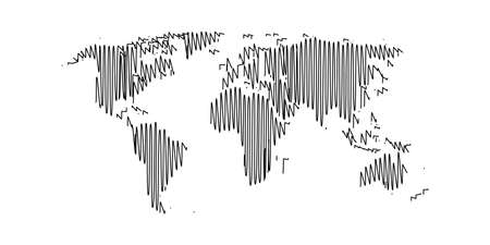 Vector world map, hand draw doodle style. Ilustrace