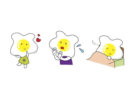 食品の漫画のキャラクターのセット  イラスト・ベクター素材
