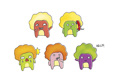 A set of cartoon food characters
