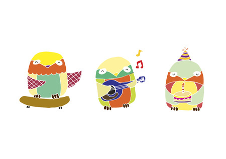 A set of illustrated owls