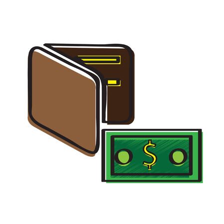 Illustration of a wallet and money