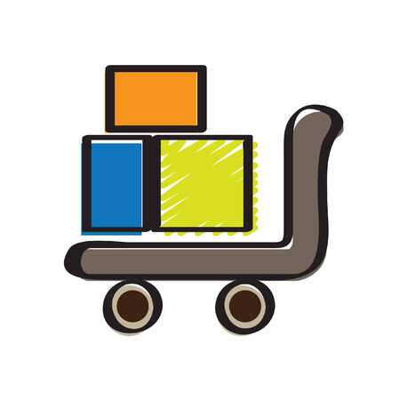 Illustration of boxes on a trolley