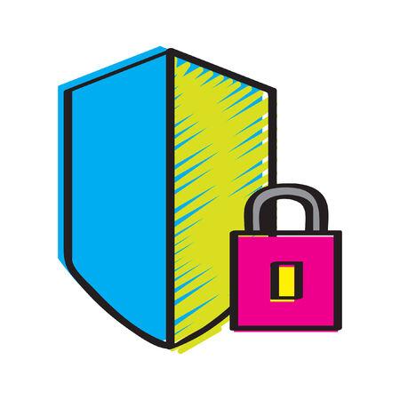 Illustration of a shield and lock Ilustração