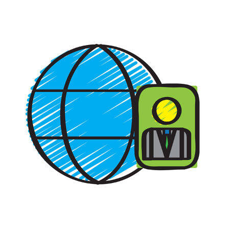 globe grid: Illustration of a grid globe and an id card