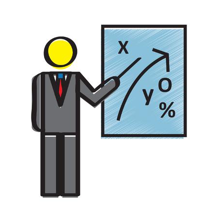 Illustratie van een zakenman onderwijs over strategie Stock Illustratie