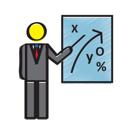 Illustration of a businessman teaching about strategy