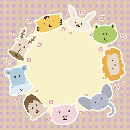 Cartoon animals arranged in a circle Vector