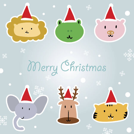Illustration of cartoon animals with santa hat Vector