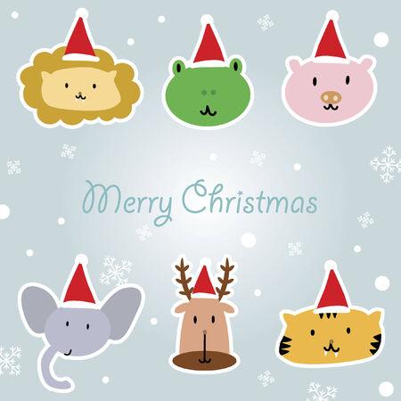 Illustration of cartoon animals with santa hat Vector