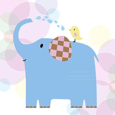 Illustration of an elephant and a bird Vector