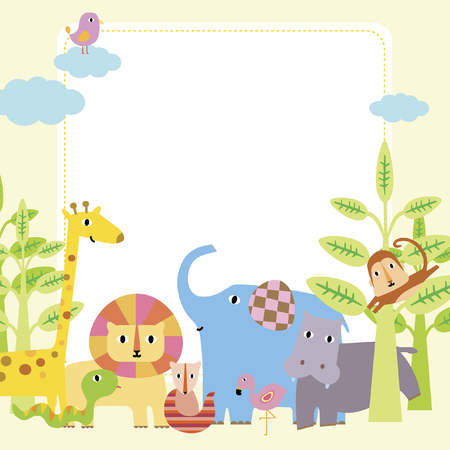 Illustration of cartoon animals Vector