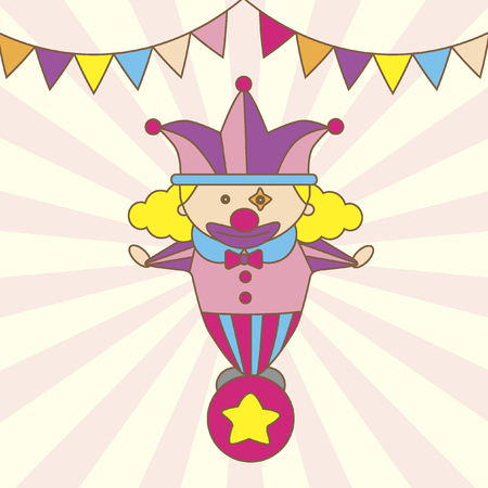 Illustration of a cartoon clown standing on a ball