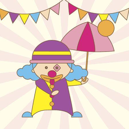 Illustration of a cartoon clown holding an umbrella Vector