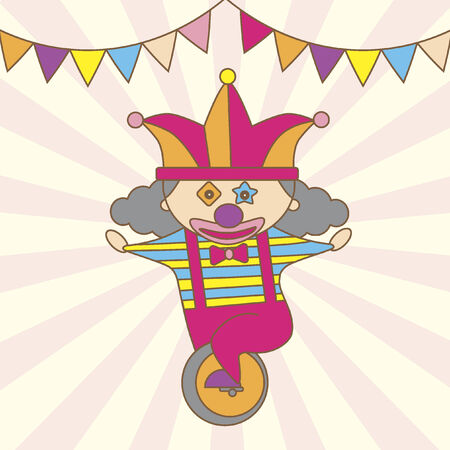 unicycle: Illustration of a cartoon clown on a unicycle