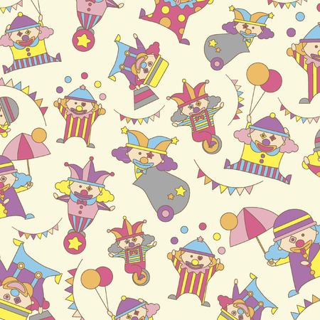 Illustrated clowns background design Vector
