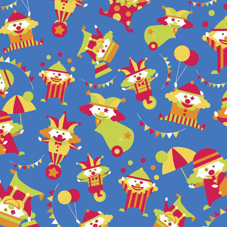 cannon ball: Illustrated clowns background design Illustration