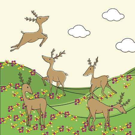 草地にトナカイのイラスト  イラスト・ベクター素材