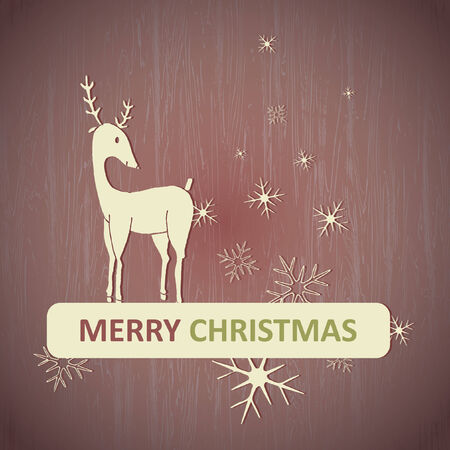 Illustration of reindeer with Merry Christmas text Vector