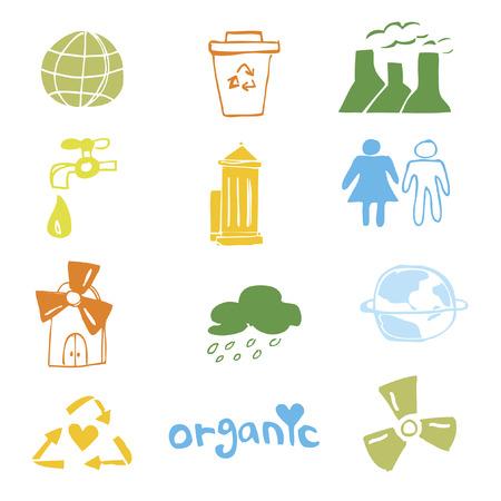environmental awareness: Set of illustrated icons