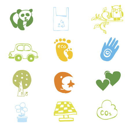 air awareness: Set of illustrated icons