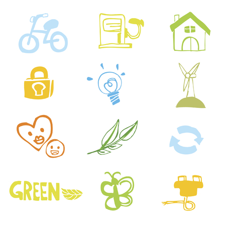 Set of illustrated icons Vector