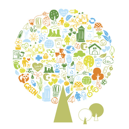A tree of illustrated recycling icons Vector