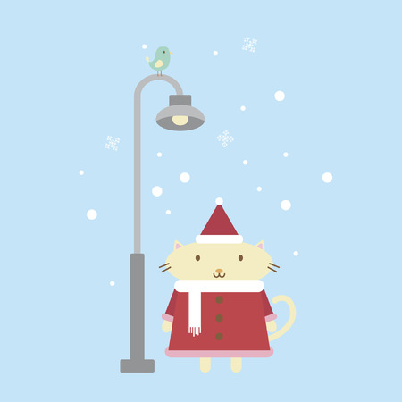Illustration of a cartoon cat standing next to a lamppost