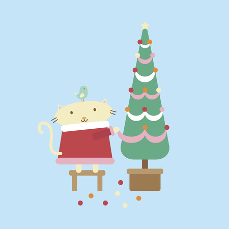 decorating christmas tree: Illustration of a cartoon cat decorating a christmas tree