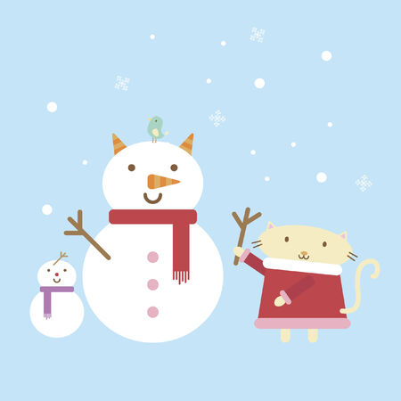 Illustration of a cartoon cat building a snowman Vector
