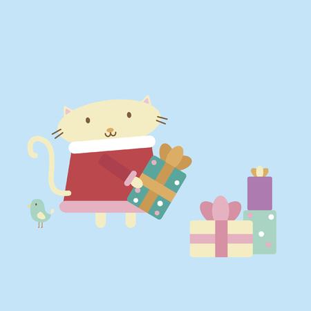Illustration of cartoon cat arranging presents Vector