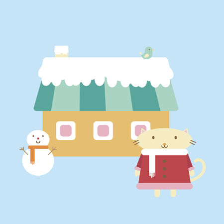 Illustration of cartoon cat standing in front of a house Vector