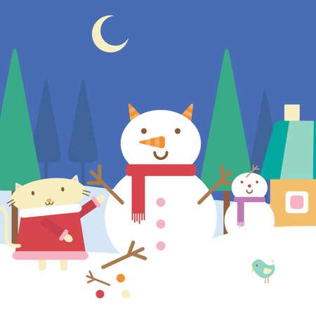 Illustration of cartoon cat building a snowman