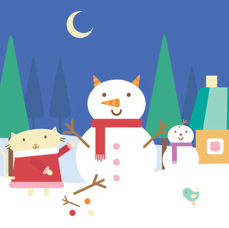 Illustration of cartoon cat building a snowman Vector