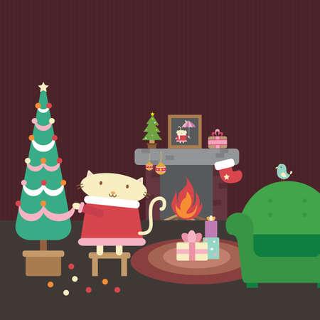 Illustration of cartoon cat celebrating christmas Vector