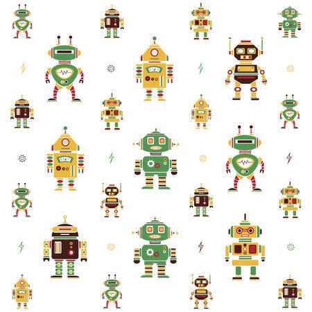 Illustrated cartoon robot background design Vector